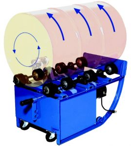 Drum Rollers to blend the contents inside a sealed drum