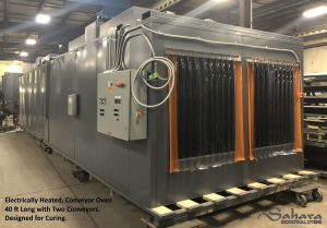 Electrically heated, conveyor oven